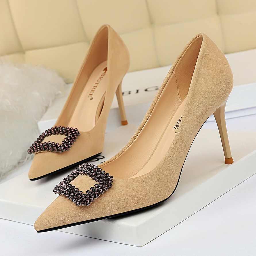 Tacchi di strass giallo scarpe bigtree scarpe estremo di alta tacchi a spillo A Punta scarpe da sera nero tacchi grande formato 43 buty