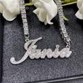 AurolaCo пользовательское имя ожерелье с бриллиантом личности в золотом цвете из нержавеющей стали кулон-табличка с именем ожерелье ювелирных ...