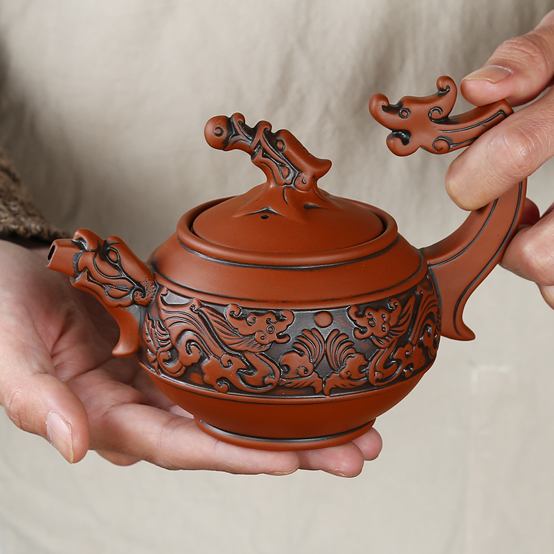 XING KILO Vintage Yixing teapot Ceramic handmade large teapot Household tea filter flower teapot 350 ml
