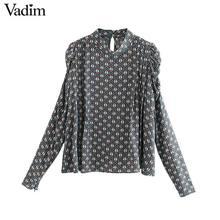 Vadim ผู้หญิง VINTAGE พิมพ์เสื้อพัฟแขนซิปตกแต่งสำนักงานสวมใส่หญิง Casual Chic Basic Tops blusas LB717