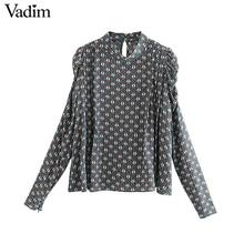 Vadim women vintage print blouse long puff sleeve zipper decorate office wear shirts female casual chic basic tops blusas LB717