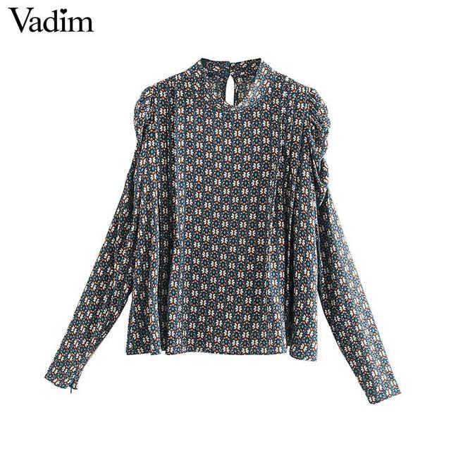 Vadim נשים הדפסת בציר חולצה ארוך פאף שרוול ציפר לקשט משרד ללבוש חולצות נקבה מקרית שיק בסיסי צמרות blusas LB717