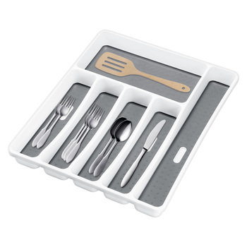 Plastic Kitchen Drawer Organizer and Cutlery Compartments Tray for Fork and Spoon with Separation