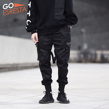 Black Hip Hop Cargo Pants Men Streetwear Fashion Cotton Joggers Sweatpants Casual Harem Trousers Summer Harajuku Tide Clothing