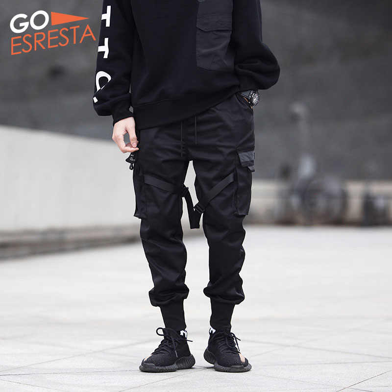 Hitam Hip Hop Celana Kargo Pria Streetwear Fashion Katun Lari Celana Olahraga Santai Harem Celana Musim Panas Harajuku Pasang Pakaian