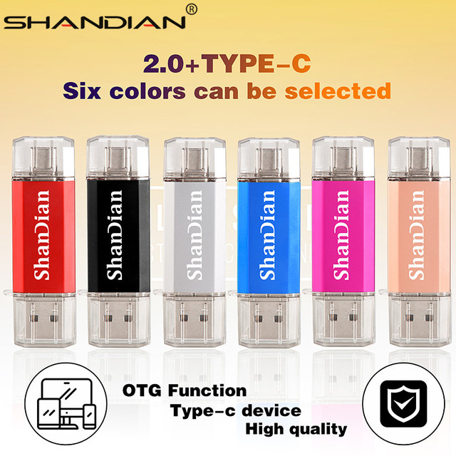 SHANDIAN Real capacity Flash Drive 64G 8G TYPE-C micro-usb 3 IN 1 pen Drive 32G 16G usb Smart Phone thumb pendrive memory 1