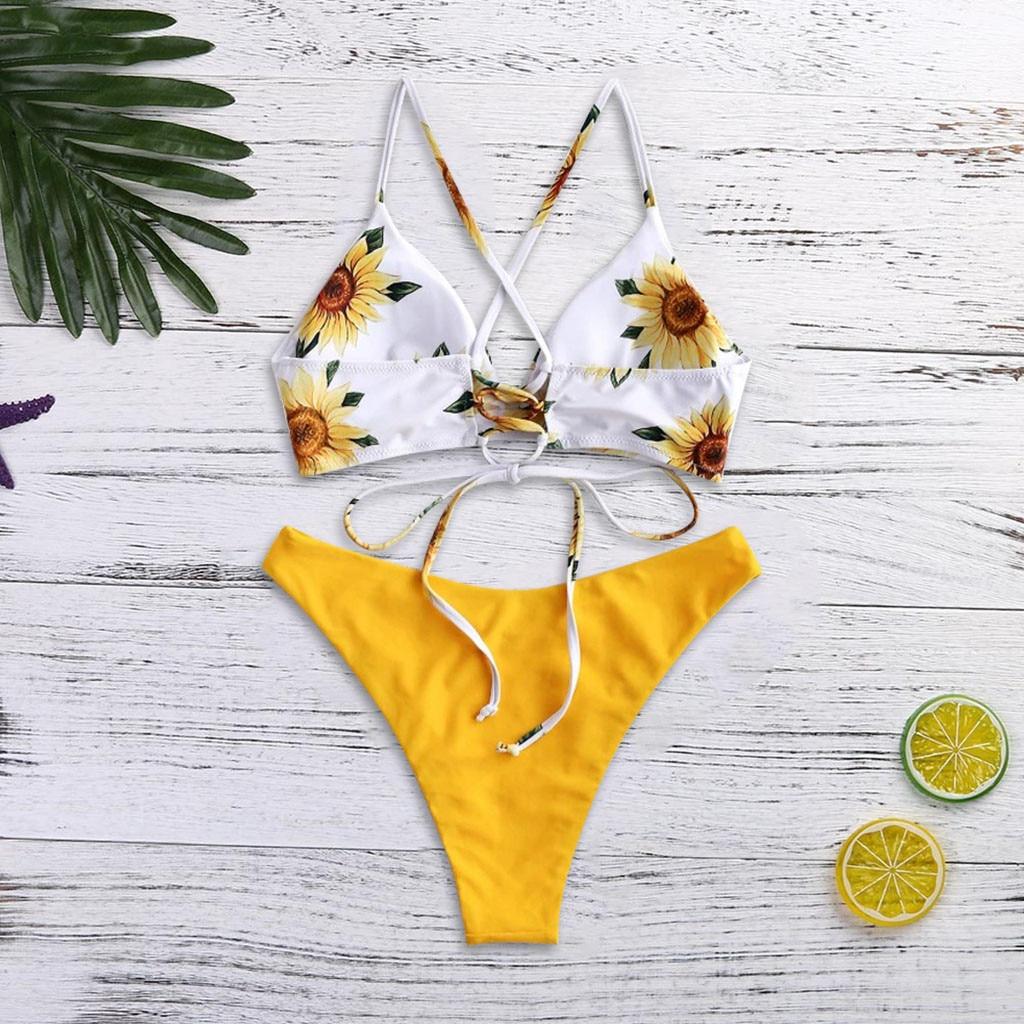 JAYCOSIN Small Fresh Sexy Strap Split Swimwear Women Triangle Bikini Fashion Sun Flower Print Beach Water Sports Swimwear New