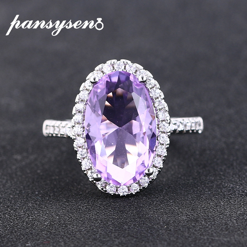 PANSYSEN Trendy Oval Amethyst Gemstones Ring Silver 925 Jewelry Anniversary Cocktail Party Finger Rings for Women Drop Shipping