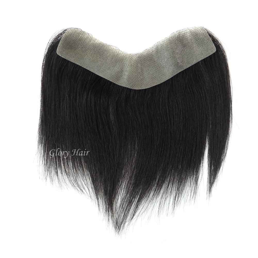 GLOYRHAIR - FRT - Thin Skin Forehead Men Toupee 6 inches Human Hair Fringe for Men All V Loop Invisible Bangs