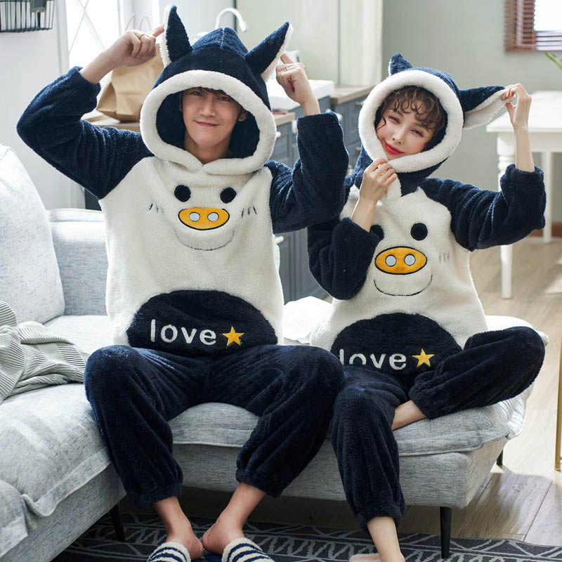 New Unisex Adult Couple Pajamas Men Winter Flannel Sleepwear 2 Pcs Warm Pajamas Set Animal Cartoon Femme Cute Home Party Clothes