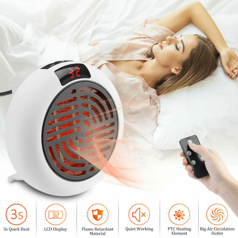900w Mini Portable Electric Heater Desktop Heating Warm Air Fan Home Office Wall Handy Air Heater Bathroom Radiator Fan EU Plug