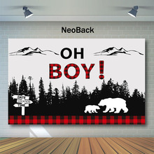 NeoBack Lumberjack Baby Shower Backdrop Buffalo Plaid Photo Background Mountain Forest Photography Backdrops