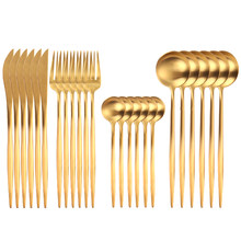 24pcs Gold Dinnerware Set 18/10 Stainless Steel Tableware Set Knife Fork Spoon Flatware Set Cutlery Set Bright light