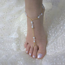 Alloy Chain Pearl Crystal Anklet New Foot Toe Ring Barefoot Ankle Bracelet high quality fashionable beatiful trendy romatic(China)
