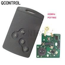 Qcontrol 4 botões do carro remoto chave inteligente para renault koleo scenic 433mhz com 7952 chip