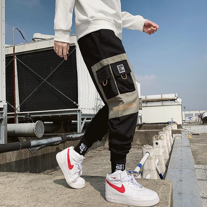2020 Hip Hop Boy Multi-pocket Elastic Waist Harem Pants Men Streetwear Punk Casual Trousers Joggers Male Ankle-length Mens Pants(China)