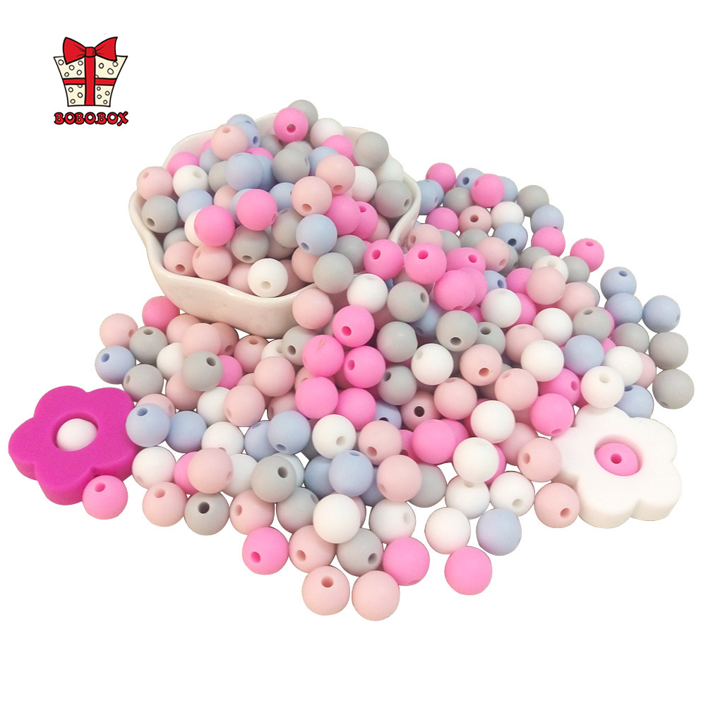 BOBO.BOX 100pcs Silicone Beads 9mm Eco-friendly Sensory Teething Necklace Food Grade Mom Nursing DIY Jewelry Baby Teethers Toy