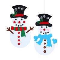 Рождественский Подарок Смешной сделать Снеговик игра Войлок DIY Снеговик Орнамент Рождественские украшения для дома подвесной navidad Новогод...