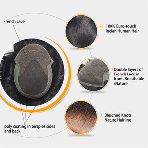 Image 2 - Durable Breathable Mens Toupee French Lace with Poly Coating Indian Human Hair System Men 7 Sizes Hair Nuit