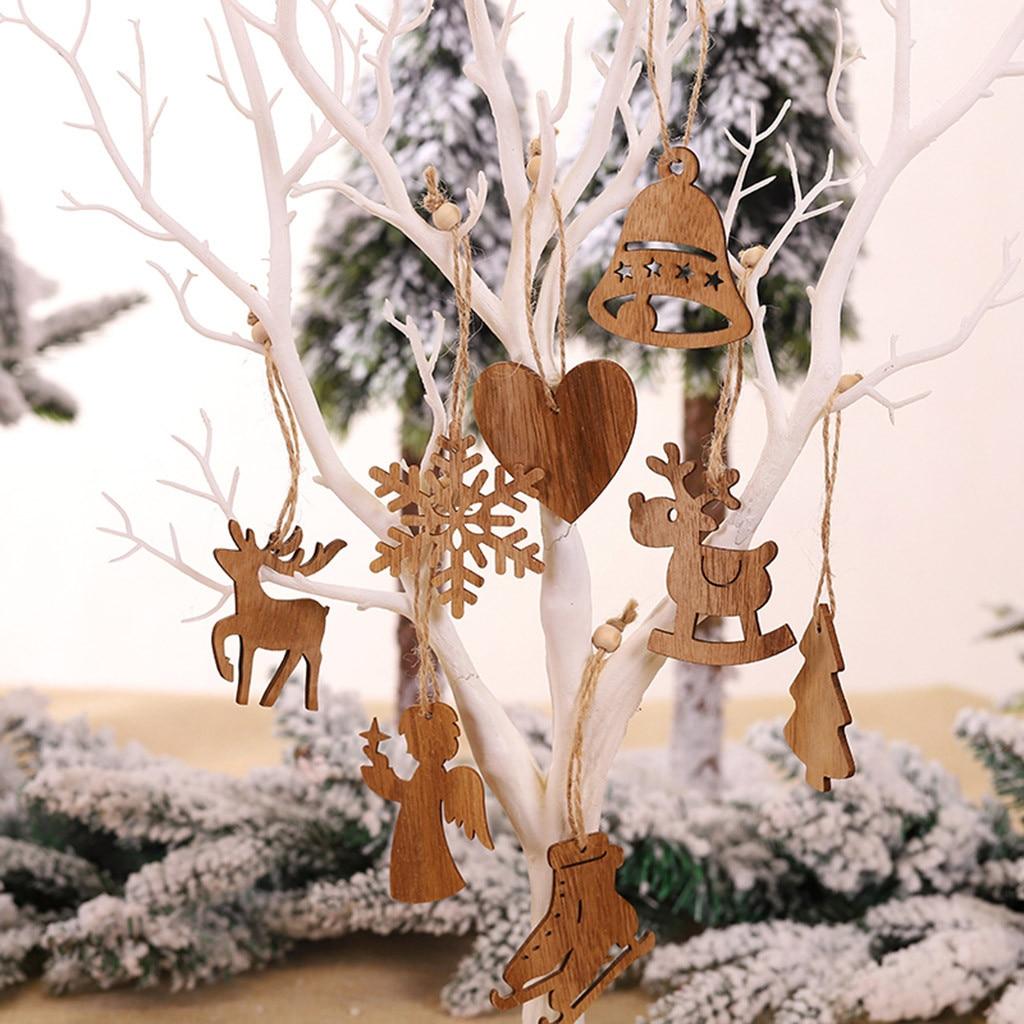 3PC //Set Wooden Christmas Car Cabin Elk Tree Decorations Craft Hanging Ornament