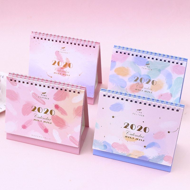 2020 Creative Colorful Feathers Desktop Calendar DIY Pink Coil Calendars Daily Schedule Planner 2019.09~2020.12