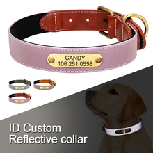 Pet Necklace Leather dog-Collar Personalized Dogs Fluorescent Collars Padded Soft Glow-In-Dark-S-2xl