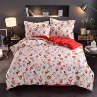 4pcs/set Soft Bedding Set Double sided Sanding Cotton Christmas Printing Duvet Cover Bed Sheet Pillowcase Home Textile