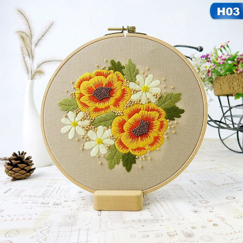 Sewing Arts Crafts DIY Embroidery Cross Stitch Kits Hoop Handmade Cartoon Flower Patterns Needlework Set with Embroidery-3