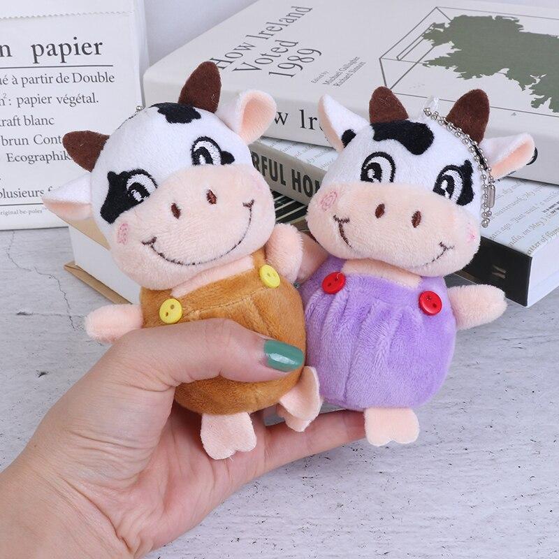 1 Pc New 10cm Little Cow Stuffed Animal Plush Toys , Key chain Plush Dolls , Kid's Plush Toys Chinese New Year-1