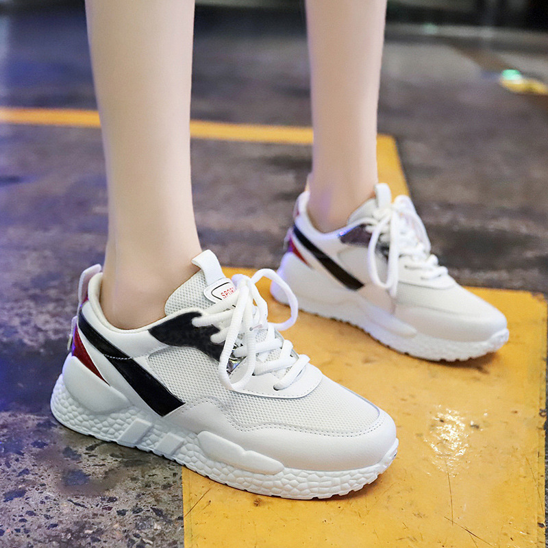 Women Sneakers Breathable Mesh Green Platform Ladies Shoes Summer Knitting Flats Casual Chunky