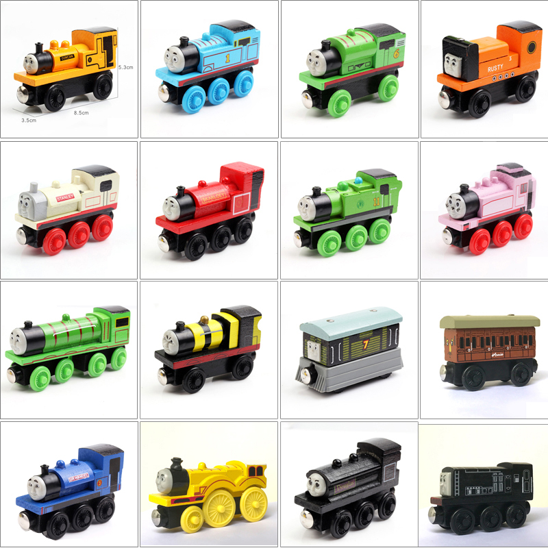 1piece Train Magic Track Train Car Wooden Train Hot Wheels Thomas And Friends For Child Kids Gift 48Types Choose Car Trains Toys