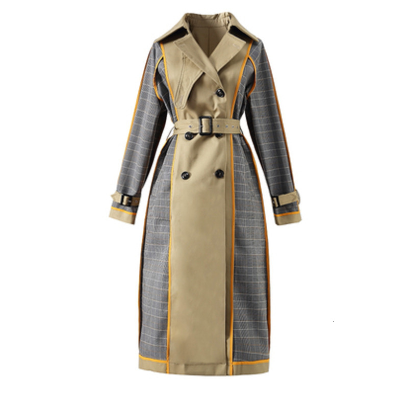 LANMREM Women Turn Down Collar Leisure Full Sleeve Patchwork Wide Trench Coat Outwear Double Face Loose 2020 New 19F-a68