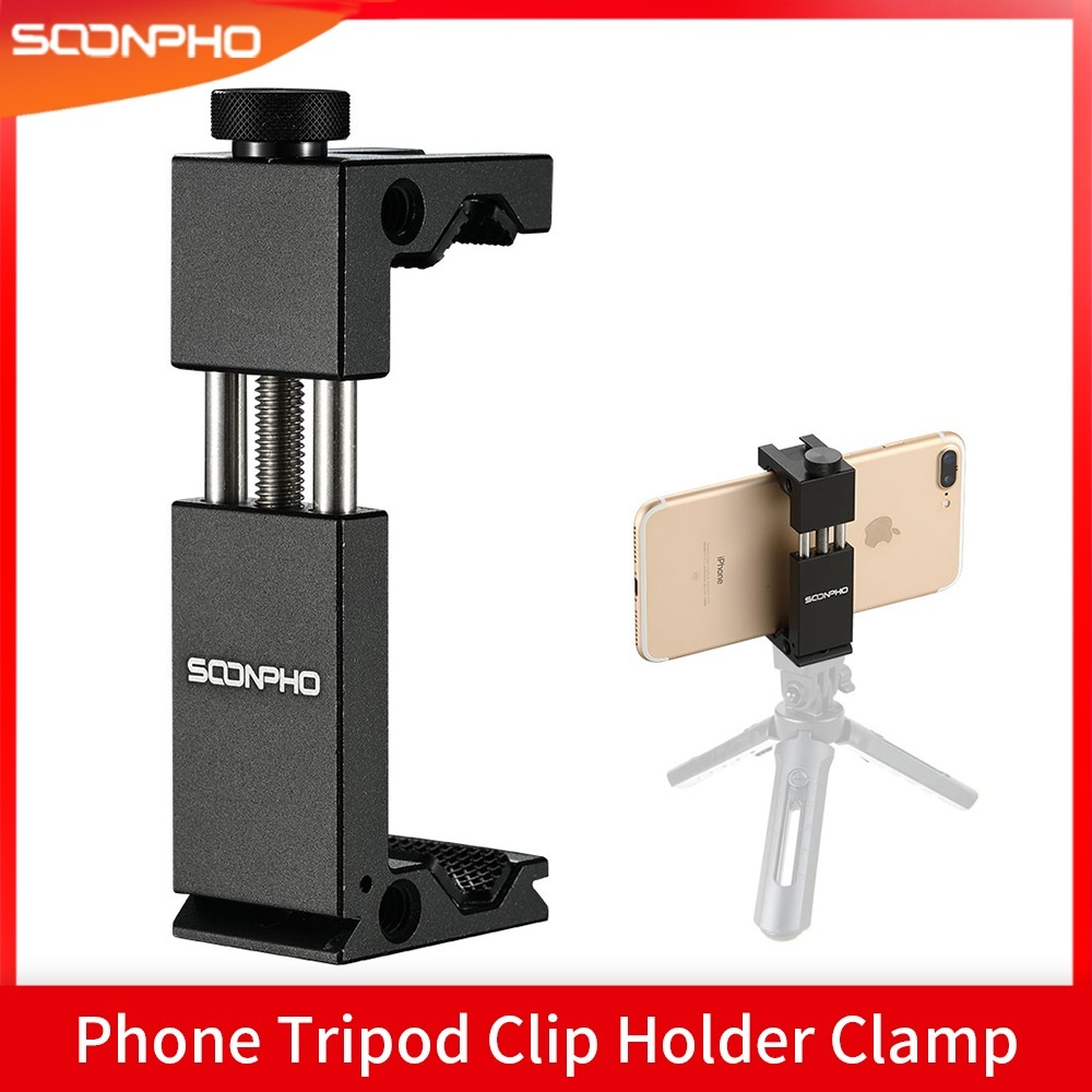 SOONPHO Phone Tripod Mount Aluminum Metal Smart Phone Tripod Clip Holder Clamp Adapter for iPhone XS