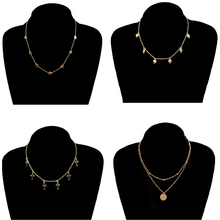 4 Pcs/ Set New Star Love Heart Pendant Necklace Women Simple Gold Color Cross Sequins Clavicle Chain Necklace 4 pcs set new round circle sequins multilayer necklace gold color dainty crystal clavicle chain choker necklace women