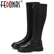 FEDONAS Sport Flats Platform Women Knee High Boots Party Casual Shoes Woman Genuine Leather Chunky Heels Long Boots Warm Boots(China)