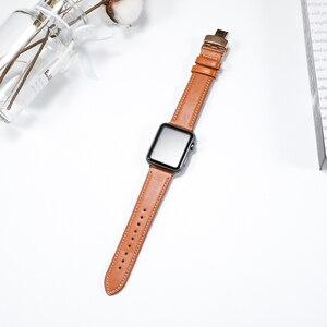 Image 3 - Cinturino in pelle Per apple watch 5 4 band correa apple watch 42mm 38 millimetri 44 millimetri 40 millimetri iWatch 4 3 2 Farfalla fibbia pulseira cinturino
