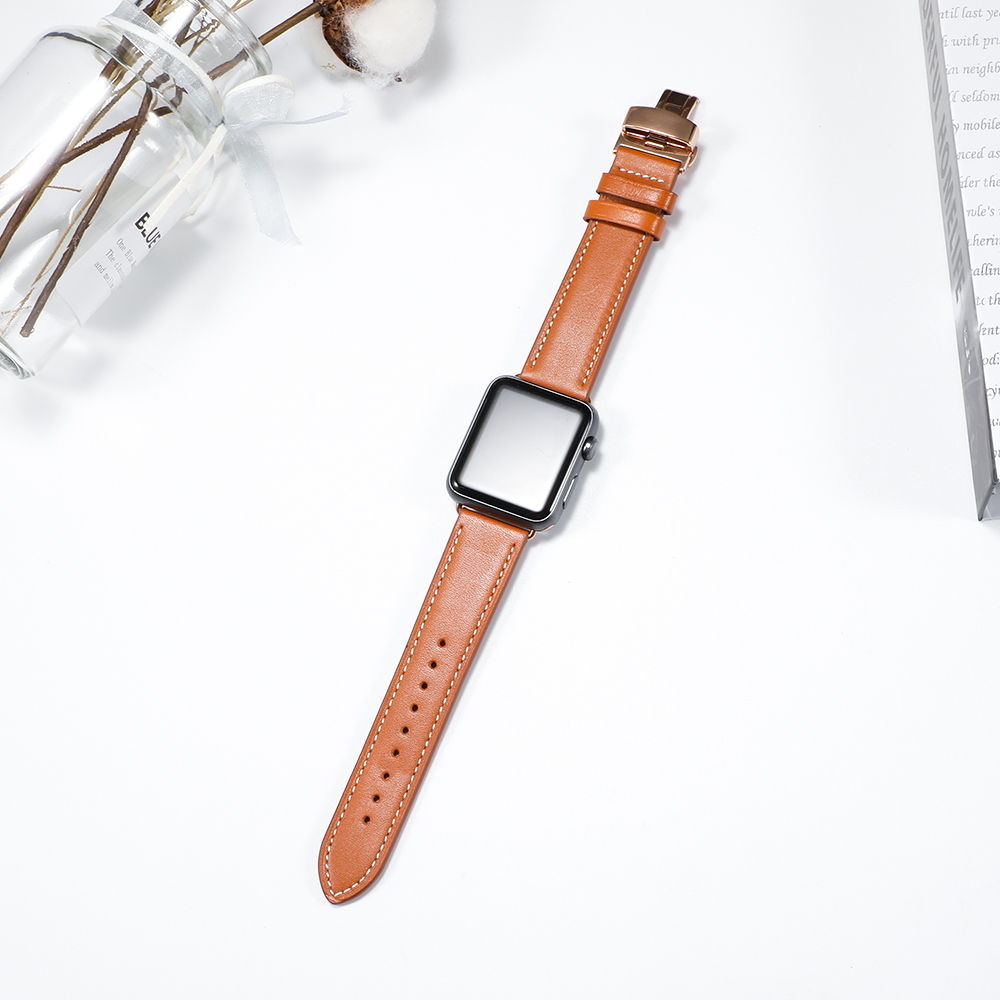 Image 3 - Leather Strap For Apple watch 5 4 band correa apple watch 42mm 38 mm 44mm 40mm iWatch 4 3 2 Butterfly buckle pulseira watchbandWatchbands   -