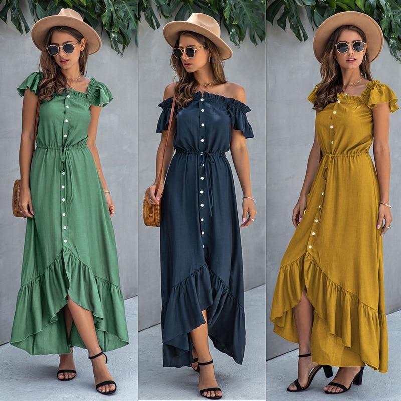 Fashion Ruffled Women's Dress, One-word Collar, Button-tethered Long Skirt, Irregular Backless Street Style Women's Skirt XL 2XL