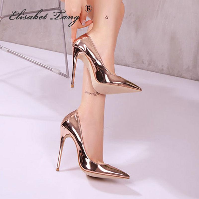 ElisabetTang Escarpins Sexy Hauts Talons Rosy Gold High Heels Pumps Woman Shoes Stiletto Pumps Shallow Pointed Toe Women's Shoes