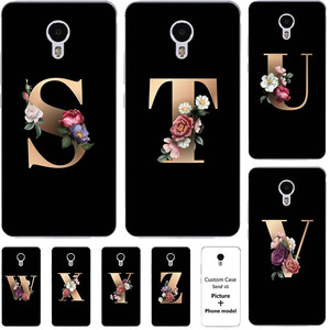 Flower 26 English Name Letters Custom Initial Case For Meizu M2 M3 Note 2 3 5 For Meizu M5 Note Soft Silicone Cover