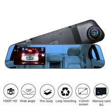 Full HD 1080P Mobil Kamera Auto 4 Inch Kaca Spion Panas Digital Perekam Video Dual Registratory Camcorder DVR Cermin dash Cam(China)