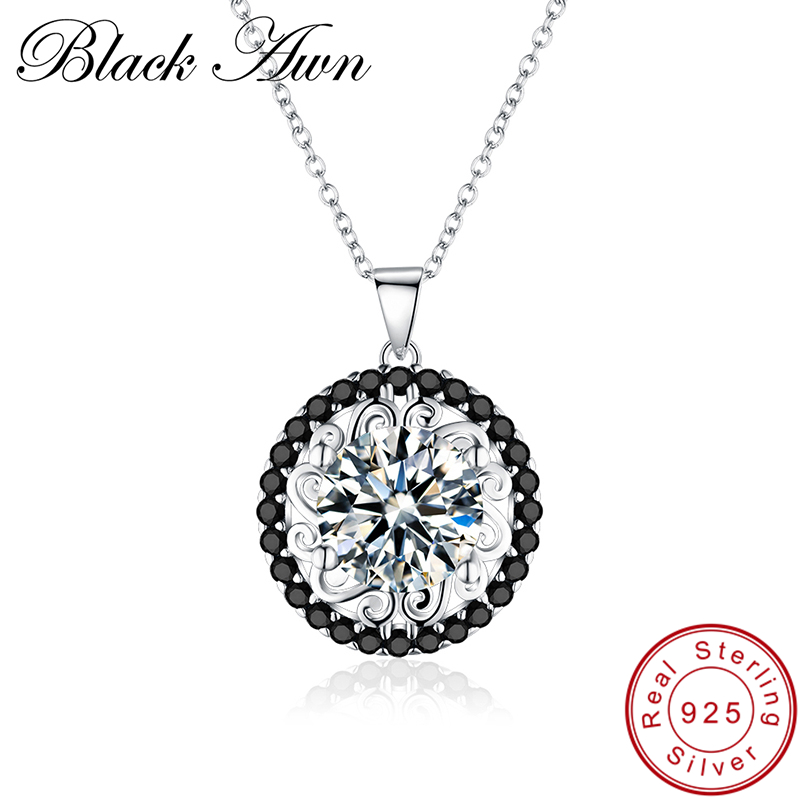 [BLACK AWN] Genuine 100% 925 Sterling Silver Necklace Women Jewelry Flower Pendants P113