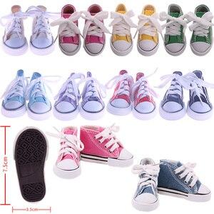 7.5 cm piękna lalka na płótnie buty dla 18 Cal Girl Doll i noworodki laleczka bobas 43 cm i 1/3 lalka BJD blythe, zabawki dla dziewczynek