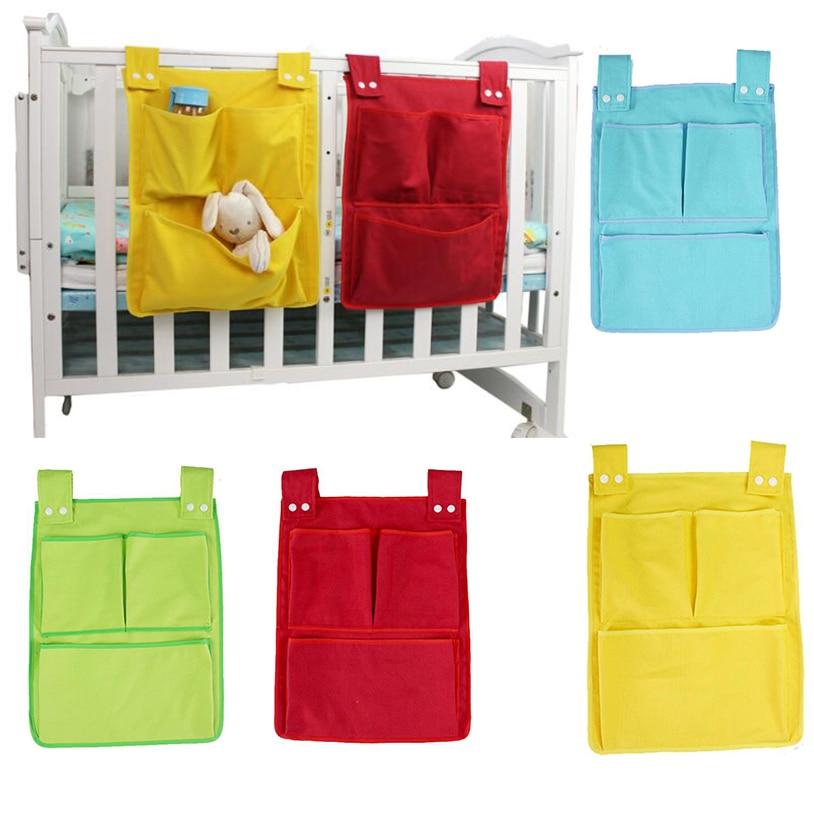 1Pcs Canvas Bed Hanging Storage Bag Baby Cotton Crib Organizer Toy Diaper Pocket Bag For Crib Bedding Set Baby Supplies