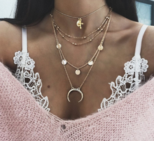 Women Charm Round Moon Chain Pendant Gold Silver Necklace Personality Multilayer Clavicle Necklace Set Fashion Birthday Gift(China)