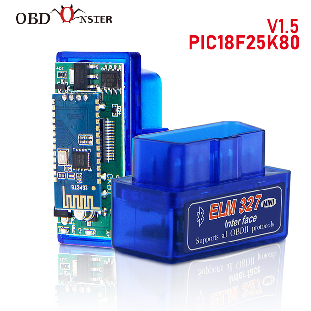 ELM327 Bluetooth V1.5 PIC18F25K80 OBD2 Scanner ELM 327 Bluetooth Android/PC Torque Car Code Scanner OBD2 Bluetooth Adapter 1.5