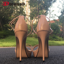 Women Sexy High Heels Sandals 14cm Ankle Strap Summer Party Fetish SM Cross Dresser Gay Drag Queen Unisex Shoes Plus Size 39-50