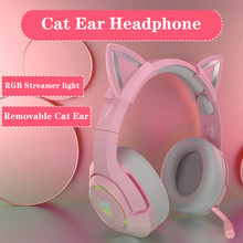 LED Cat Ear Gaming Headphones Girls Pink Headset 7.1 Stereo Sound Removable Cat Ear Wired Gaming Headsets With Mic