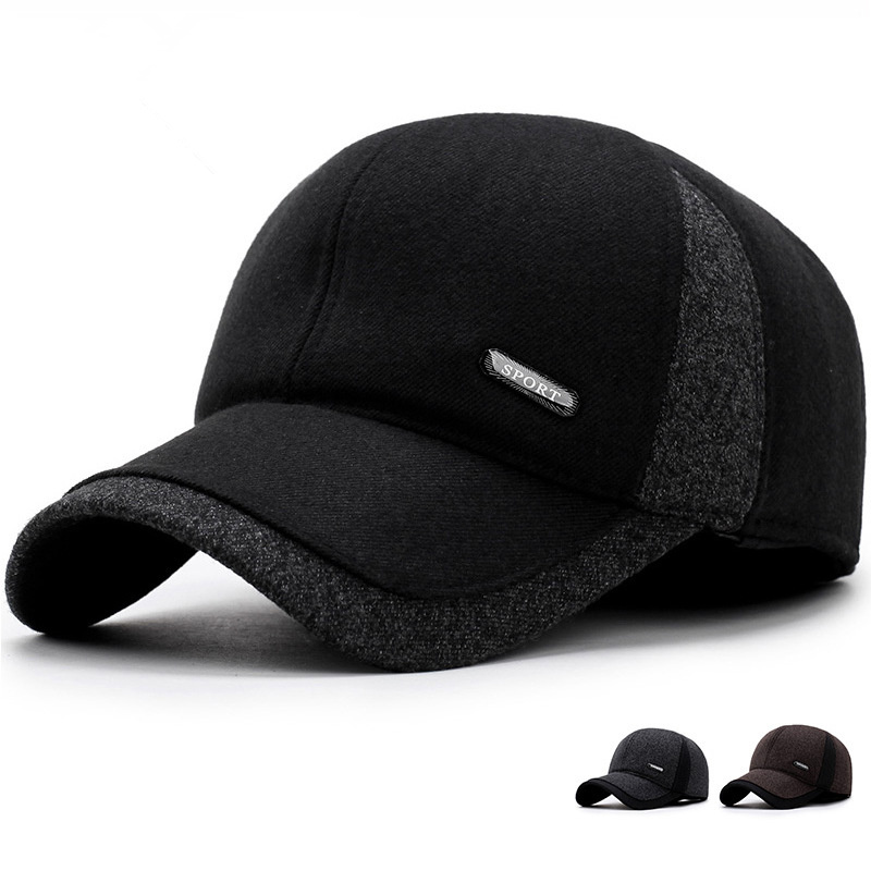 2019 New Fashion Hat Winter Middle-aged Warm Baseball Cap Men Casual Winter Earmuffs Caps Sports Men's Hats