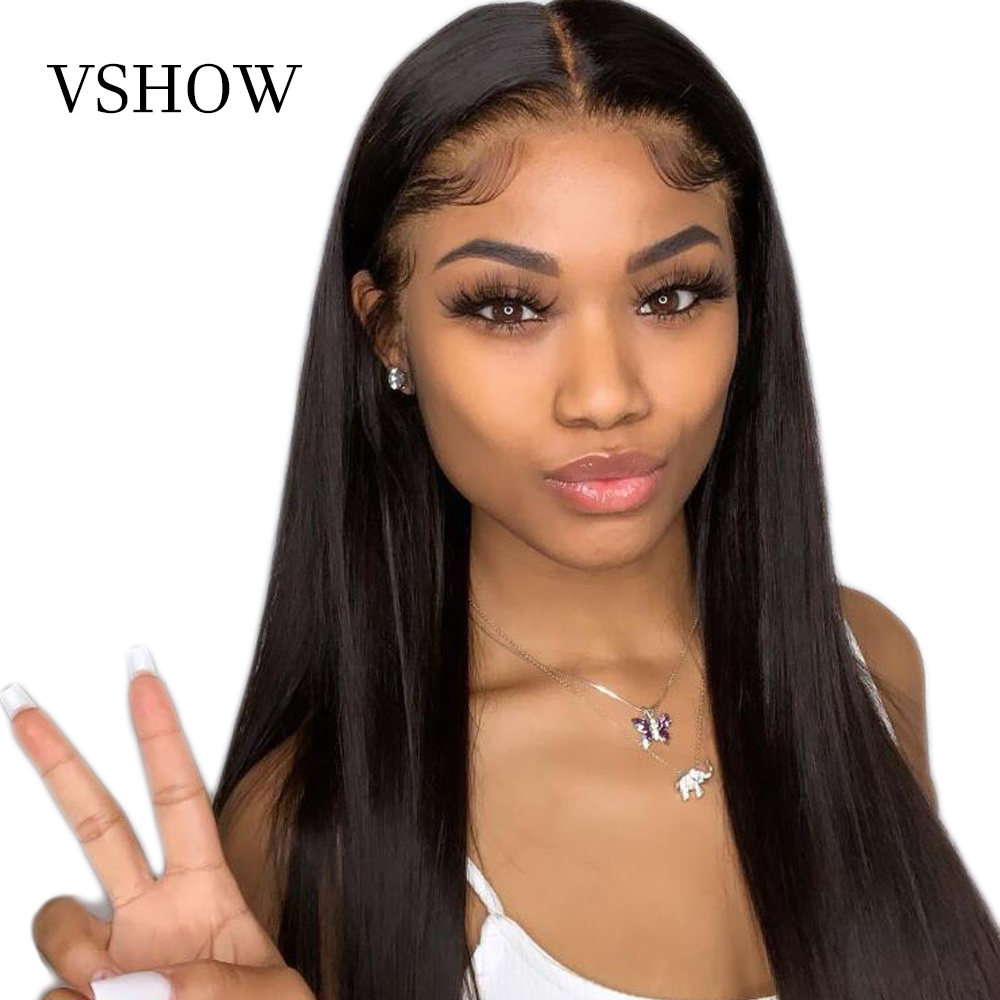 VSHOW Malaysian Straight Lace Front Wigs For Black Women Remy Hair High Density Human Hair Wigs Transparent Lace Frontal Wig